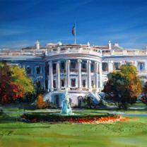 """White House"" by Jennifer Bowman, 11 x 14 Original Acrylic on Board"
